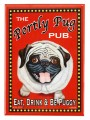 portly pug retro pet magnet